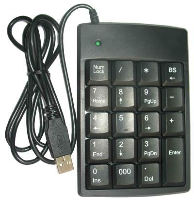 USB-NumPad met 2-poorts         hub