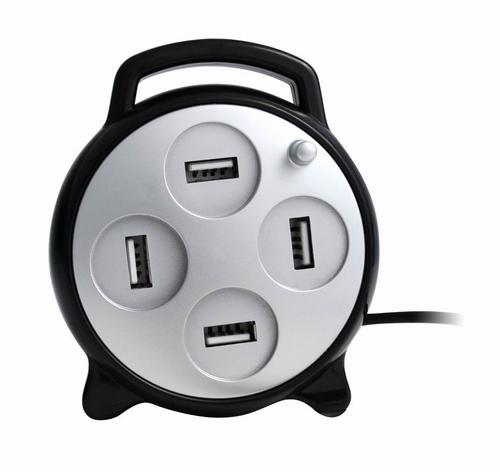 USB HUB met 4 USB-poorten. Model: Kabelhaspel