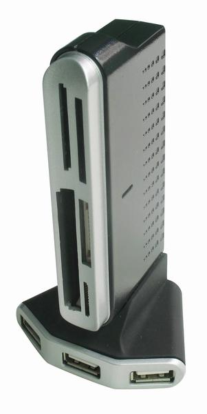 4-poorts USB-hub met            kaartlezer