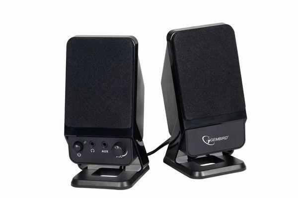 Desktop stereo speakers, 8 watt,zwart, met extra audio-in