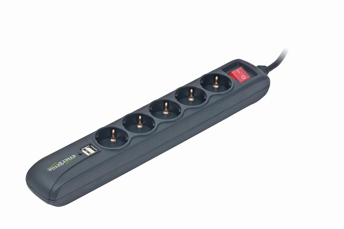 Stekkerdoos met USB lader, 5    stopcontacten, 1,5 m